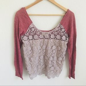 Free People Medium lace long sleeve top